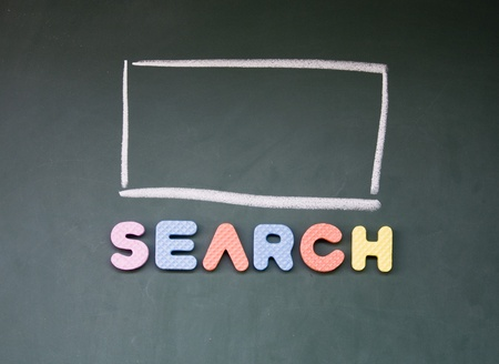 search interface drawn with chalk on blackboard photo