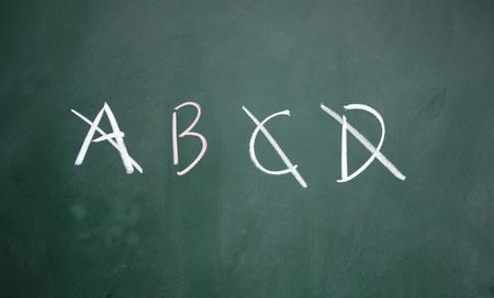 A、B、C、D symbol written with chalk on blackboard Stock Photo