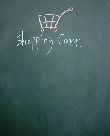 detriment: shopping cart drawn with chalk on blackboard
