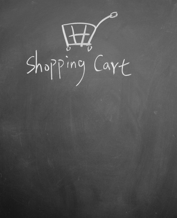 shopping cart drawn with chalk on blackboard Stock Photo - 12953670