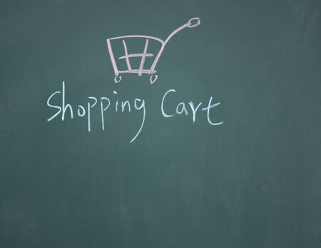 shopping cart drawn with chalk on blackboard Stock Photo - 12953604