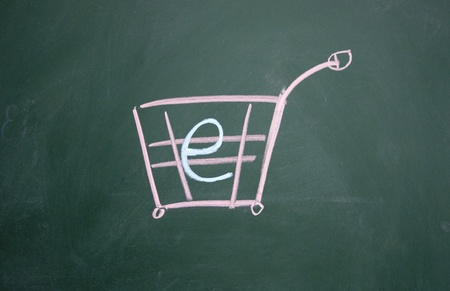 shopping cart drawn with chalk on blackboard Stock Photo - 12953644