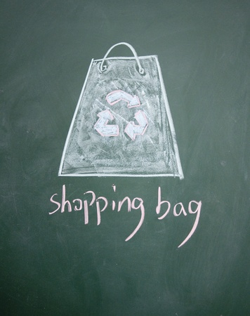 detriment: Reusable shopping bag drawn with chalk on blackboard Stock Photo