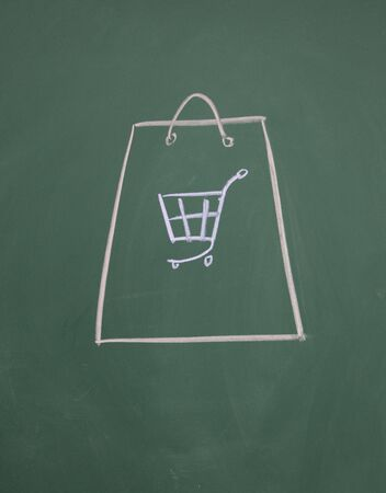 shopping bag drawn with chalk on blackboard Stock Photo - 12895271