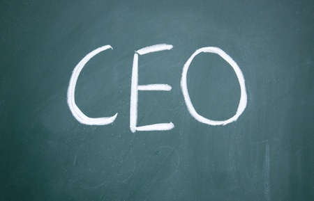ceo: CEO title written with chalk on blackboard Stock Photo