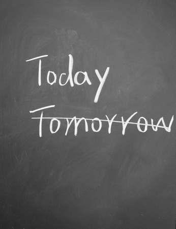 replication: today and tomorrow title written with chalk on blackboard Stock Photo