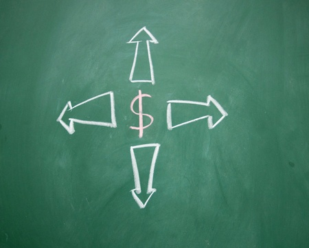 dollar symbol and arrow Stock Photo - 12895491