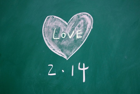valentine title and heart pattern drawn with chalk on blackboard  photo