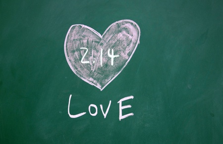 love sign and heart pattern drawn with chalk on blackboard photo
