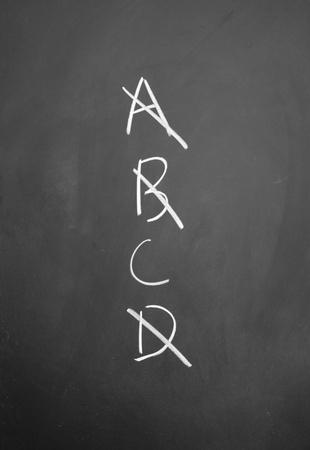 projet: ABCD written with chalk on blackboard