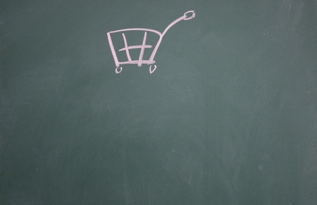 shopping cart symbol drawn with chalk on blackboard Stock Photo - 12895492