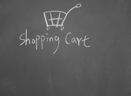 shopping cart symbol drawn with chalk on blackboard Stock Photo - 12895478