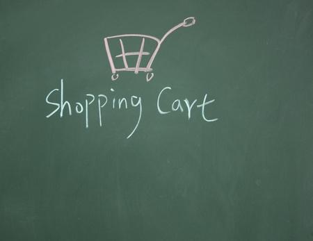shopping cart symbol drawn with chalk on blackboard Stock Photo - 12895490