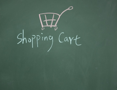 shopping cart symbol drawn with chalk on blackboard Stock Photo - 12895490