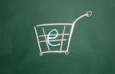 online shopping symbol drawn with chalk on blackboard photo