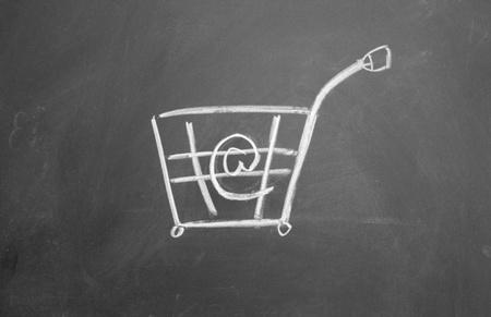 online shopping symbol drawn with chalk on blackboard Stock Photo - 12895485