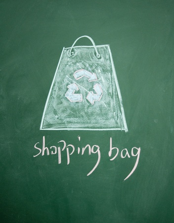 Reusable shopping bag drawn with chalk on blackboard Stock Photo - 12895665