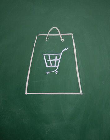 shopping bag drawn with chalk on blackboard Stock Photo - 12895615