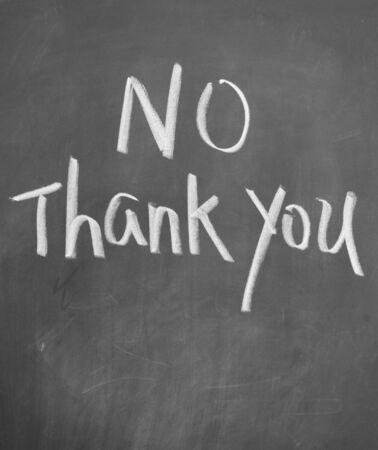 negate: no thank you title written with chalk on blackboard