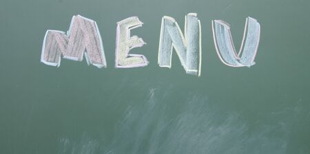 blankness: menu title written with chalk on blackboard Stock Photo