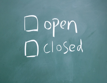 detriment: open or closed  choice symbol Stock Photo