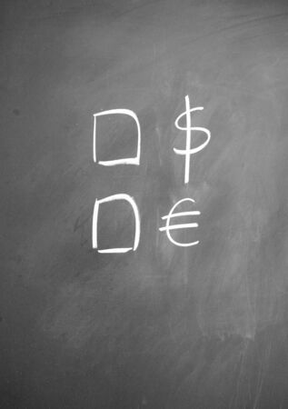 lacunae: dollar and euro symbol drawn with chalk on blackboard Stock Photo