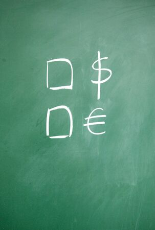 dollar and euro symbol drawn with chalk on blackboard photo