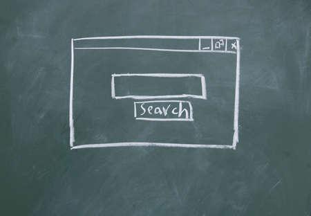 Search interface drawn with chalk on blackboard photo
