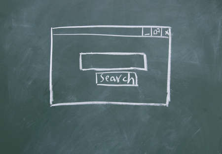 computer user: Search interface drawn with chalk on blackboard