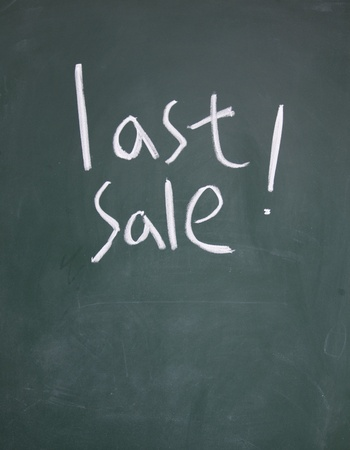 detriment: last sale title written with chalk on blackboard