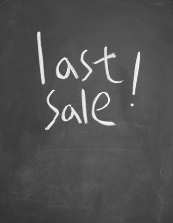 detriment: last sale title written with chalk on blackboard