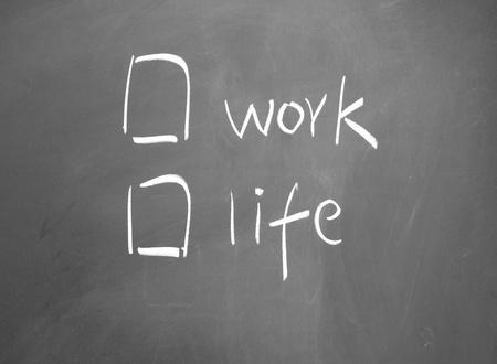 Work or life choice written with chalk on blackboard Stock Photo - 13011308