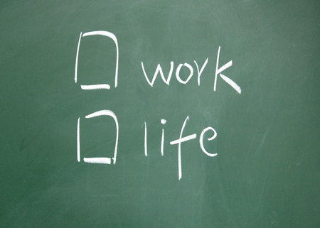 Work or life choice written with chalk on blackboard photo