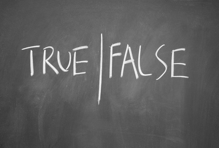 assort: true and false symbol drawn with chalk on blackboard