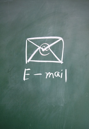 blankness: e-mail symbol drawn with chalk on blackboard