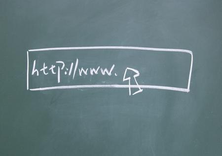 web symbol drawn with chalk on blackboard Stock Photo - 13010812