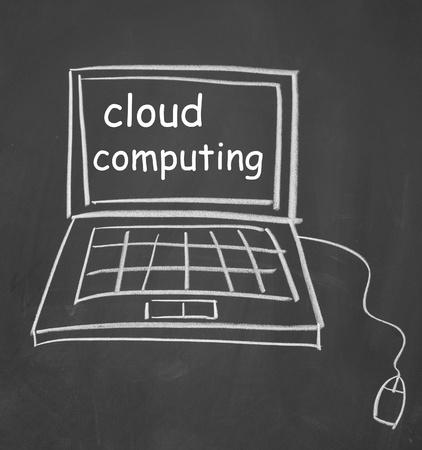 cloud computing symbol drawn with chalk on blackboard photo