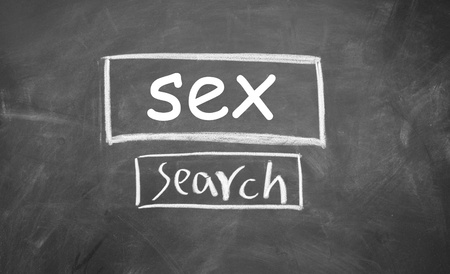 sex search web interface  drawn with chalk on blackboard