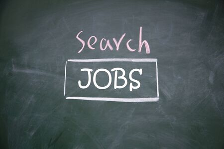 jobs search web interface  drawn with chalk on blackboard photo