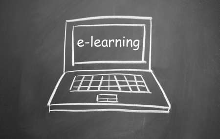e-learning  symbol drawn with chalk on blackboard Stock Photo - 13320832