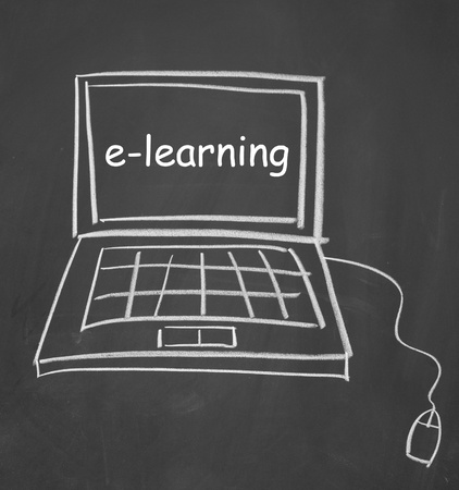 e-learning  symbol drawn with chalk on blackboard photo