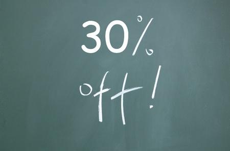 discount symbol drawn with chalk on blackboard photo
