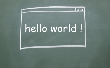 hello world web browser drawn with chalk on blackboard Stock Photo - 13320758