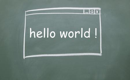 hello world web browser drawn with chalk on blackboard Stock Photo - 13320758