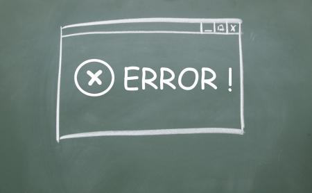 web error symbol browser drawn with chalk on blackboard