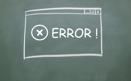 oops: web error symbol browser drawn with chalk on blackboard