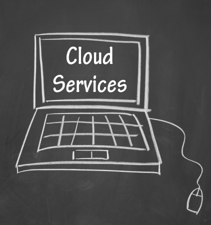 cloud services symbol drawn with chalk on blackboard photo