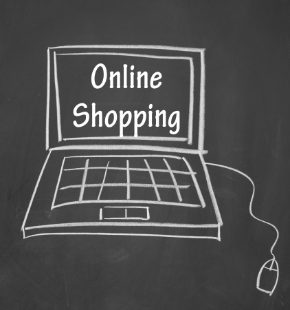 sell online: online shopping symbol drawn with chalk on blackboard