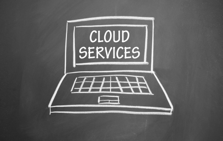 cloud services symbol drawn with chalk on blackboard Stock Photo - 13680091