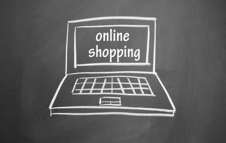 online shopping symbol drawn with chalk on blackboard Stock Photo - 13679493